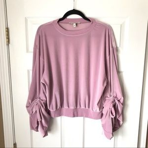 NWT Express One Eleven velvet balloon sleeve top